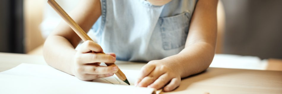 Young homeschool student writing with a pencil